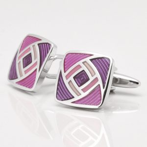 Two Tone Purple Geometric Cufflinks