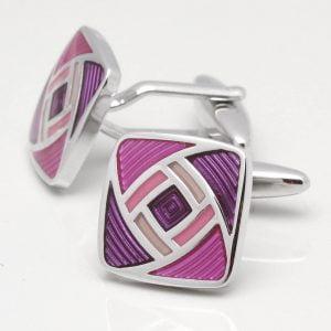Two Tone Purple Geometric Cufflinks