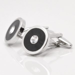 Black Cufflinks with Clear Crystals