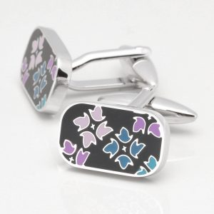 Blue, Purple & Black Enamelled Flower Cufflinks