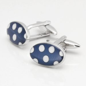 Blue & White Dot Cufflinks