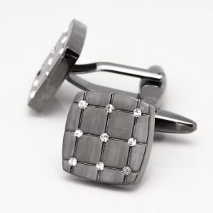 Brushed Gunmetal Lattice Cufflinks with Black Diamond Crystal Stones