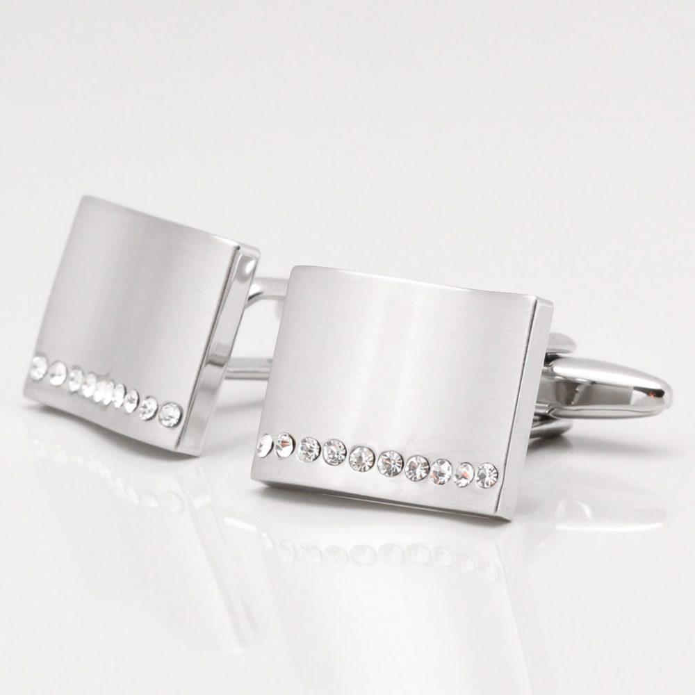 Brushed Wave Rectangular Clear Crystal Cufflinks