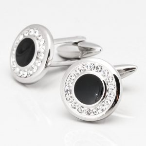Circular Crystal Cufflinks with Black Acrylic Centre