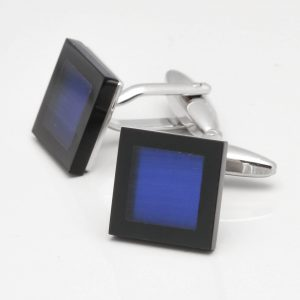 Dark Blue Cats Eye Cufflinks with Black Border
