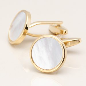 Gold Circular Mother of Pearl Cufflinks