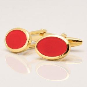 Gold Cornelian Stone Cufflinks