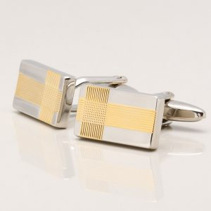 Gold Plated Ribbed Design Rectangle Cufflinks
