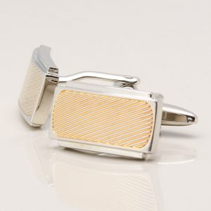 Gold Ribbed Rectangular Cufflinks