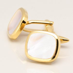 Gold Square Mother of Pearl Cufflinks
