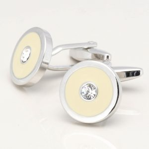 Ivory Cufflinks with Clear Crystals