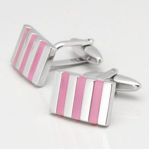 Light Pink Rectangular Cats Eye Cufflinks
