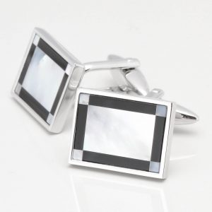 Mother of Pearl with Onyx Edge Cufflinks