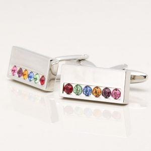 Multi Coloured Crystal Rectangle Cufflinks