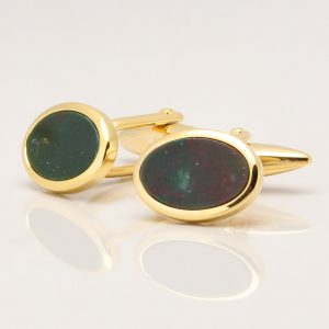 Oval Gold Bloodstone Cufflinks