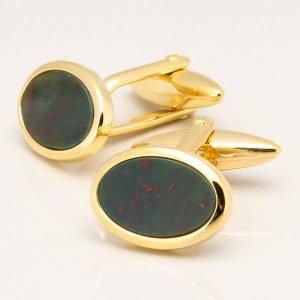 Oval Gold Bloodstone Cufflinks