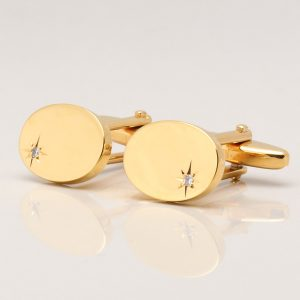 Oval Gold Diamond Cufflinks