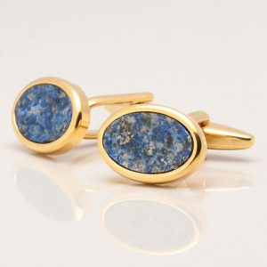 Oval Gold Lapis Lazuli Cufflinks