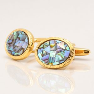 Oval Gold Paua Shell Cufflinks
