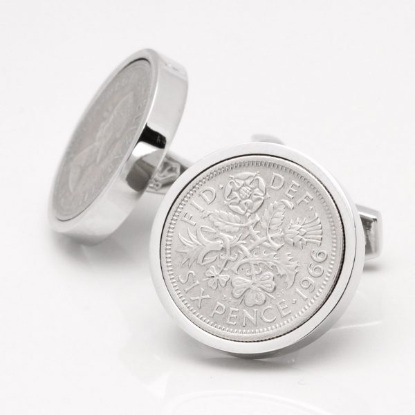 Personalised Silver Sixpence Cufflinks