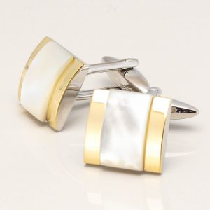 Raised Mother of Pearl with Gold Edge Cufflinks