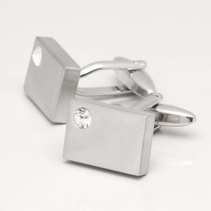 Rectangular Brushed rhodium cufflinks with clear crystal