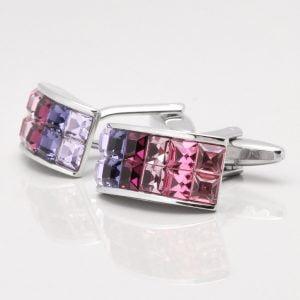 Rectangular Pink Toned Crystal Cufflinks