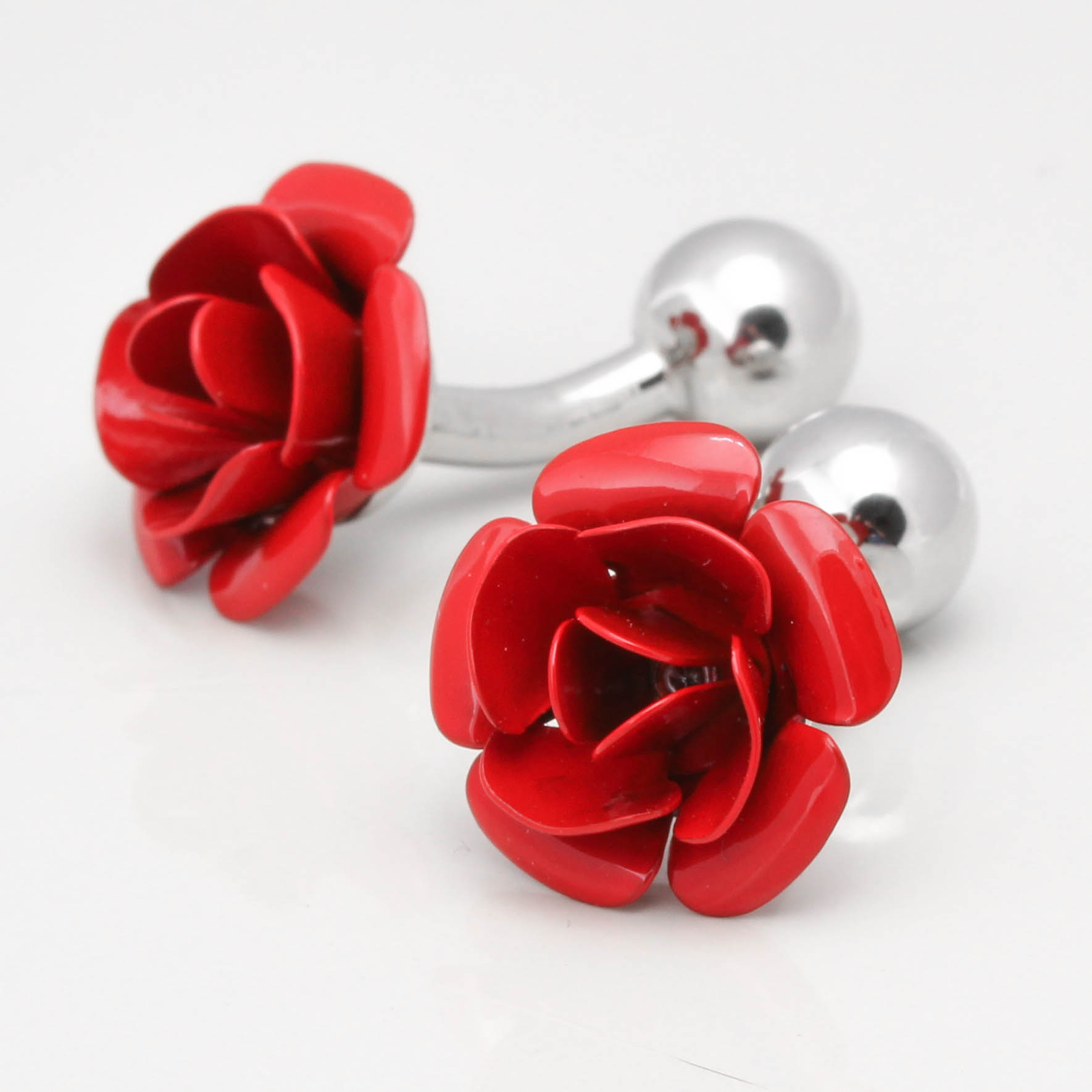 Rose Cufflinks Flower Red With Crystal Cuff Links