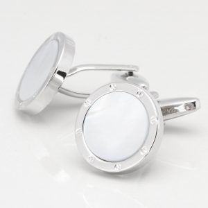 Round Mother of Pearl Port Hole Cufflinks