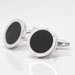 Round Onyx Port Hole Cufflinks