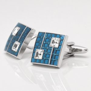 Royal Blue Epoxy Square Cufflinks with Clear Crystals