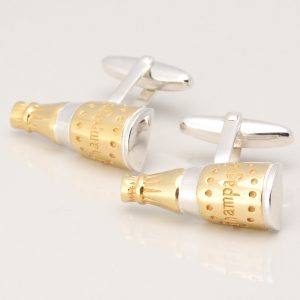 STERLING SILVER CHAMPAGNE BOTTLE CUFFLINKS