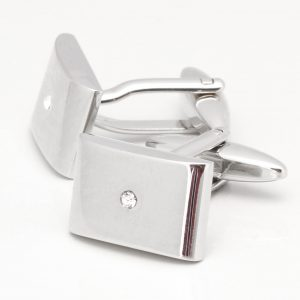 Shiny Rhodium Rectangular Cufflinks with Central Clear Crystal