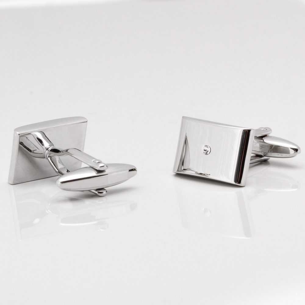 Shiny Rhodium Rectangular Cufflinks with Central Clear Crystal Gallery