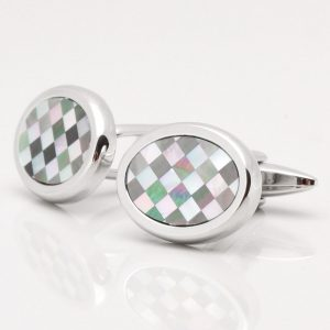 Smoked Mother of Pearl & Grey Chequered Cufflinks