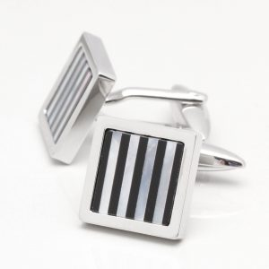 Square Mother of Pearl & Onyx Stripe Cufflinks