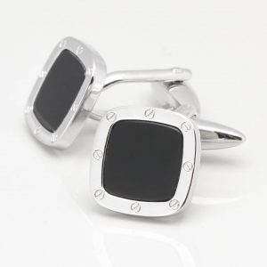 Square Onyx Port Hole Cufflinks