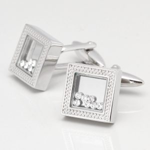 Square Patterned Cufflinks with Moving Clear Crystals