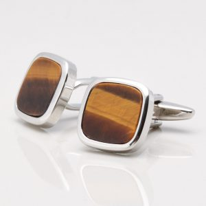 Square Tiger Eye Stone Cufflinks