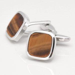 Square Tiger Eye Stone Cufflinks