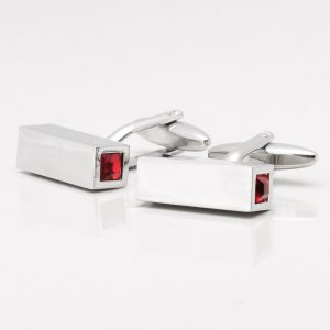 Square Tube Red Crystal Cufflinks