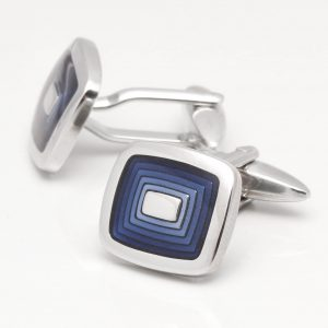 Stepped Blue Enamel Square Cufflinks