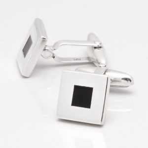 Sterling Silver Onyx Square Cufflinks