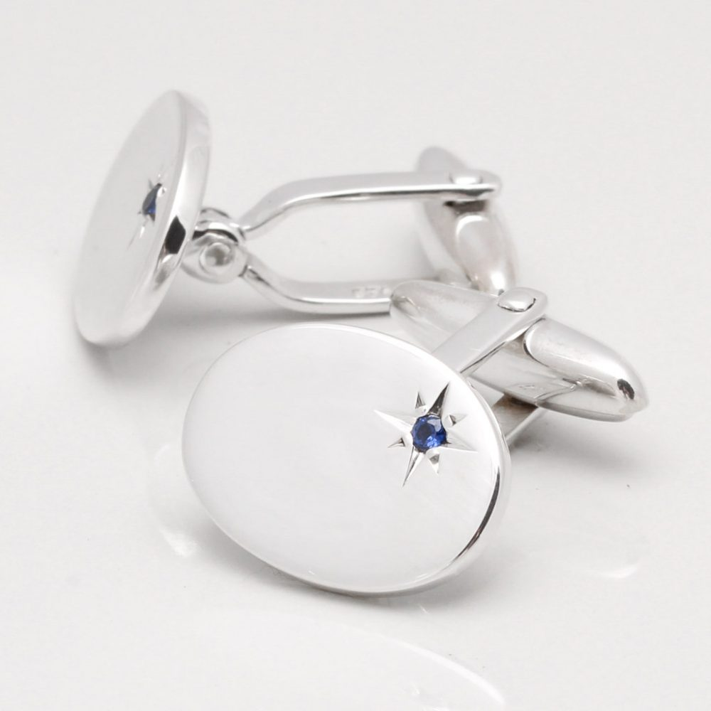 Sterling Silver Oval With Offset Sapphire Cufflinks