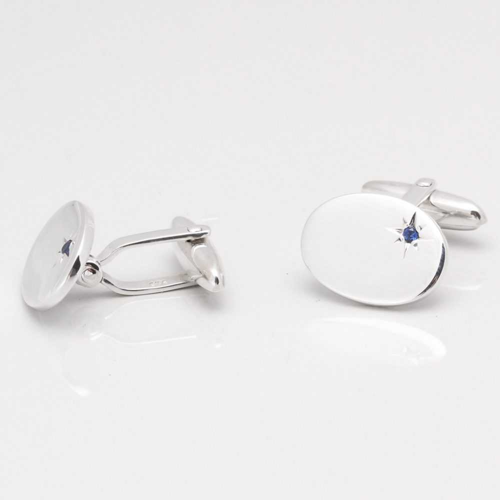 Sterling Silver Oval With Offset Sapphire Cufflinks Gallery