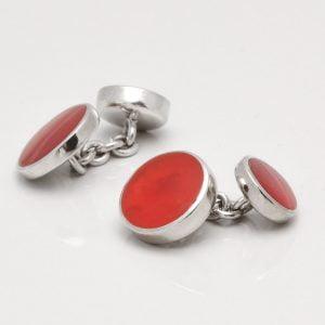 Sterling Silver Round Cornelian Cufflinks