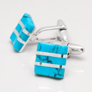 Sterling Silver Turquoise Wave Cufflinks