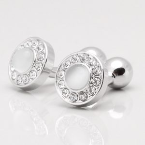 White Cat Eye with Clear Crystal Cufflinks