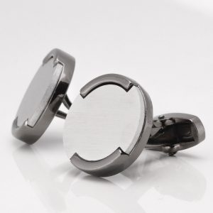 Brushed Rhodium Circle With Gunmetal Base Cufflinks