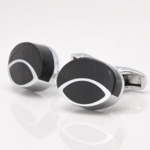 Oval Black Stone Cufflinks With Silver Lines